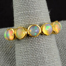18k Solid Yellow Gold Ethiopian Opal Eternity Ring SIZE 7.5
