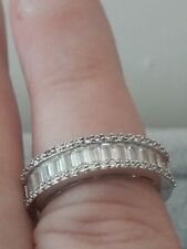 Cubic Zirconia Half Eternity Band Ring Size O Sterling Silver Channel Set
