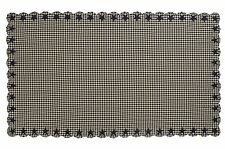 "BLACK STAR SCALLOPED TABLE CLOTH 60X120"" BLACK KHAKI CHECK APPLIQUE STARS"