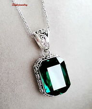 Filigree Green Emerald Square Drop Made with Swarovski Crystal Necklace N18