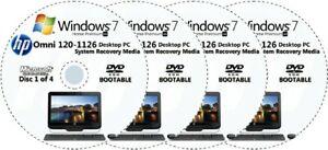 HP Omni 120-1126 Factory Recovery Media 4-Discs Set / Windows 7 Home 64bit