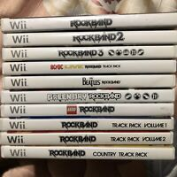 Nintendo Wii/Wii U Rock Band Lot Bundle 1 2 3 Green Day Lego Beatles Track Pack