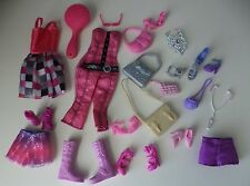 BARBIE Accessories Pink & Silver Shoes Purses Jewelry Clothes 21 piece Set 16