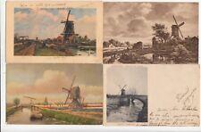 4 OLD POST CARDS PAYS-BAS HOLLANDE NEDERLAND moulins molens mills 1