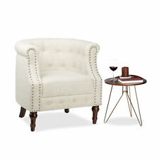 Retro Sessel Chesterfield beige Polstersessel Lesesessel Stoffbezug Armsessel