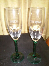 Irish Bride/Groom Wedding Champagne (2) Flutes GreenTwist Stems/Pewter Claddagh