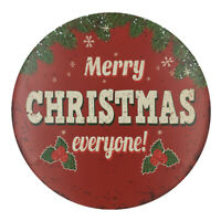 Vintage Round Metal Tin Sign Poster Plaque Merry CHRISTMAS Wall Art Decor