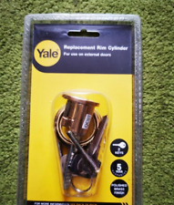Yale Replacement Rim Cylinder Polished Brass 2 Keys