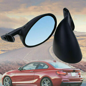 2pcs Universal Vintage Car Door Side View Wing Mirror Matte Black with Gaskets