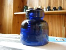 Old glass vintage insulator dark cobalt blue color - near mint condition