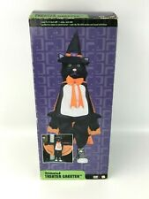 Gemmy Animated Treater Greeter Witch Cat Talking Moving 2 1/2 Feet Tall w/ Box