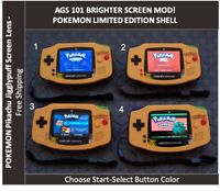 Nintendo Game Boy Advance GBA POKEMON System AGS 101 Backlit Mod -Pikachu Lens