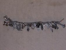 Vintage Sterling Silver Charm Bracelet Western Horse Theme and More Charms