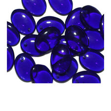 Cobalt Oval Czech Pressed Glass Beads 15x10mm (pack of 20)