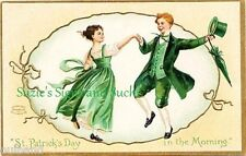 Vintage Fabric Block St Patrick's Day In the Morning Dancing Jig Irish Ireland