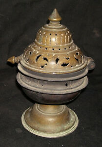 Antique ORIGINAL Traditional Indian Bronze Incense Burner RARE COLLECTIBLE