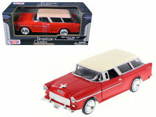 1955 Chevy Bel Air Nomad Station Wagon Die-cast Car 1:24 Motormax 8 inch Red