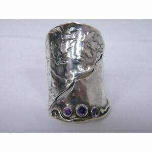 NEW Authentic Women's Ring 925 Sterling Silver Amethyst CZ Finger Purple Color
