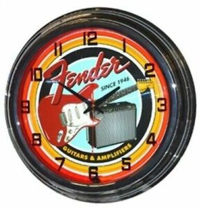 """Retro 17"""" Fender Guitars & Amplifiers Sign Red Neon Wall Clock"""