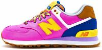 New Balance 574 Suede Retro Women Trainers in Pink & Yellow WL574 EXB