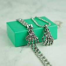 Gothic Mens Biker Skull Pendant Chain Stainless Steel Necklace and Bracelet Set