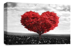 BLACK GREY FLORAL WALL ART RED TEAL LANDSCAPE HEART TREE CANVAS 30 X 20