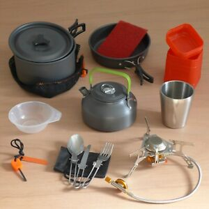 Fishing Cooking Kit: Kettle, Pot Set, Gas Stove, SS Cutlery, SS Insulated Cup