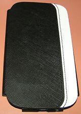Voia Premium Leather flip cover case Samsung Galaxy S III, Black, White, NEW