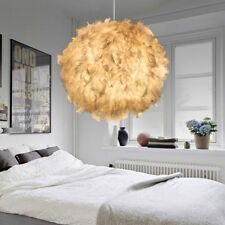 Romantic White Feather Shade Droplight Lamp Shade Bedroom LED Ceiling Light CA