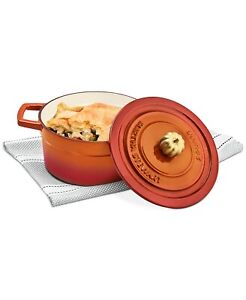Martha Stewart Orange 2 Quart Enameled Cast Iron Dutch Oven with Pumpkin Knob