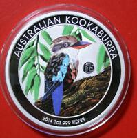 Australien 1 Dollar 2014 Kookaburra 1 oz  #F3806 ST-BU Nur 2.000 Coloured Privy