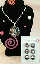 Monster High Girls Jewelry Set with Necklace & 3 Pair Small SS Earrings Gift Box