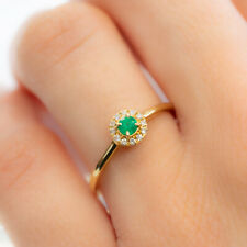 Petite Colombian Emerald and Diamonds Ring in 18K Gold