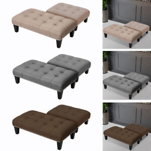 Buttoned Pouffe Foot Stool Footstool Ottoman Bench Seat Chair Kids Chairs 2 Size