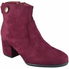 Womens Ladies Ankle Boots Faux Suede Zip Mid Cuban Heel Work Button Shoes Size