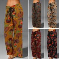 Damen Vintage Elastische Taille Weites Bein Lang Hose Floral Palazzo Hosen Plus