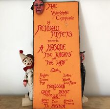 antique Puppet Show Advertising Canvas With Automaton Head Moving Mouth