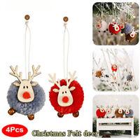 4Pcs Felt Wooden Elk Christmas Tree Decoration Hanging Pendant Deer Ornaments UK