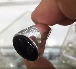 Solid Sterling 925 Silver Handmade Jewelry Cabochon Yemen Black Onyx Men's Ring