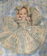 """Vintage 7"""" plastic baby doll with crocheted dress no markings (A1)"""