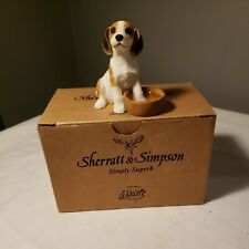 Porcelain Beagle Dog with Foot in Water Bowl Figurine Made In China Nice Detail
