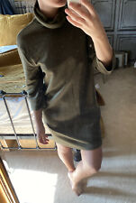 Zara TRF Khaki Green Roll Neck Basic Dress Size S New