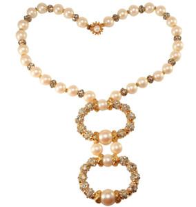 DeLillo Faux Pearl Necklace w/ Rhinestones Balls Pendant VTG Wm De Lillo