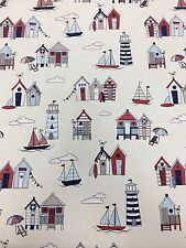 Happy Days, Beach Hut, Light House,  100% Cotton Fabric Material per Meter