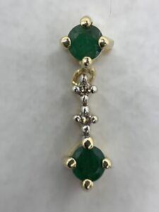 10k Emerald And Diamond Articulated Drop Pendant