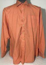 Peter Millar XL Long Sleeve Button Up Dress Shirt Orange Plaid