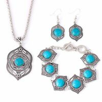 Women Vintage Pendant Necklace Bracelet Dangle Earrings Turquoise Jewelry Sets