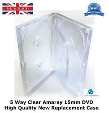 200 x 5 Way Clear Amaray 15mm DVD Spine HIGH QUALITY NEW REPLACEMENT CASE