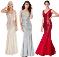 Goddiva Sequin Chiffon Inserts Full Length Maxi Evening Dress Bridesmaid Prom