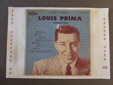 "LOUIS PRIMA ORCHESTRA PLAY 10"" LP ROYALE 18113"